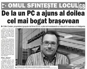 """Patronul de la ICCO, Călin Costan, falimentat de """"Gazeta Braşovului""""!"""