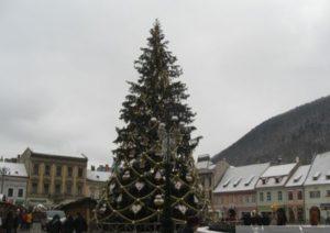 Bradul de Crăciun din Piaţa Sfatului, transformat în mese și băncuțe pentru picnic
