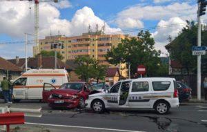 Accident în care a fost implicată o mașină a Poliției, în Bartolomeu