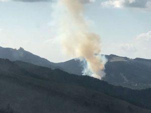 VIDEO DIN ELICOPTER Incendiu puternic de vegetație în Masivul Ciucaș, la Vama Buzăului