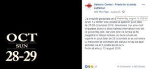 Cutremurul din 28 octombrie, prezis pe Facebook încă din luna august
