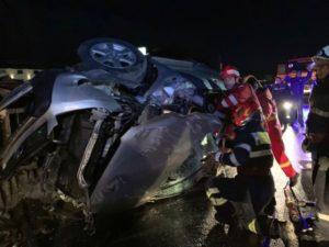 VIDEO Încă un accident cu o mașină răsturnată pe DN13