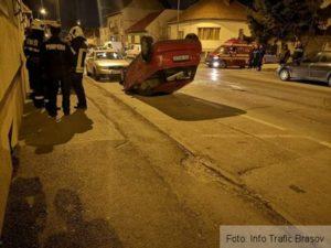 Mașină răsturnată pe strada Nicolae Titulescu (Foto)