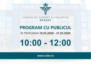 Camera de Comerț și Industrie din Brașov modifică programul de lucru cu publicul