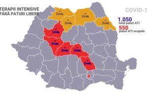 Harta ocupării paturilor de Terapie Intensivă pentru bolnavii de COVID-19. La Brașov nu mai sunt paturi disponibile